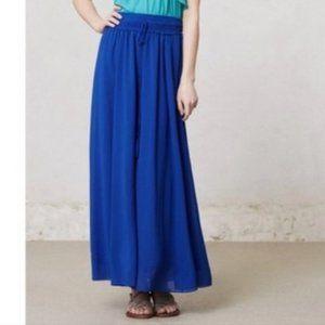 Anthro MAEVE Royal Blue Chiffon Maxi Skirt Medium